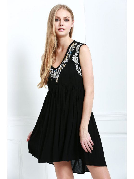 hot Bohemian Embroidery Sleeveless Dress - BLACK S