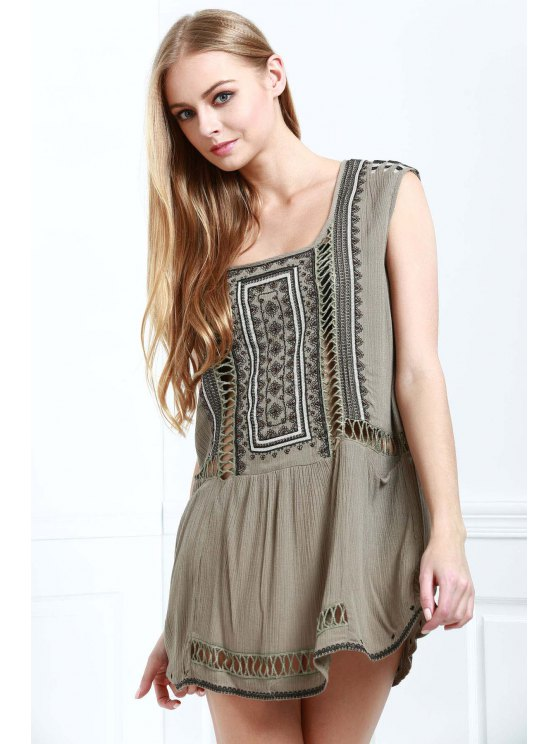 shop Beading Openwork Embroidery Dress - GRAY S