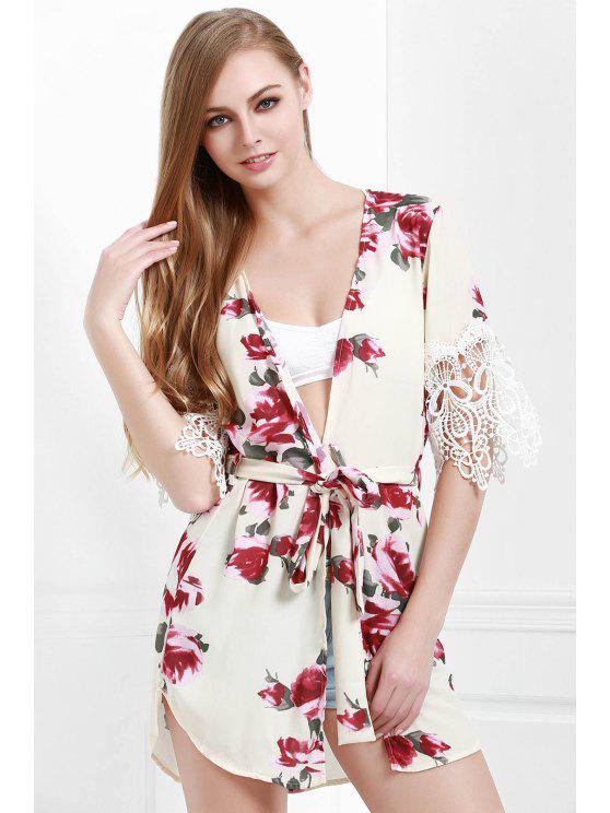 unique Floral Half Sleeve Lace Up Blouse - WHITE S