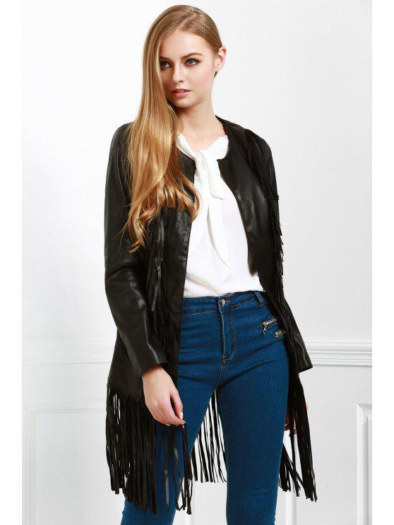 lady Long Fringe PU Leather Jacket - BLACK L