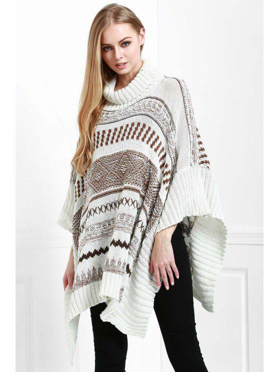 buy Turtle Neck Jacquard Poncho - WHITE ONE SIZE(FIT SIZE XS TO M)