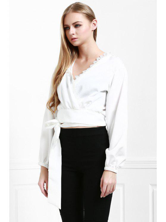 affordable Long Sleeve White Self-Tie Fall Top - WHITE S