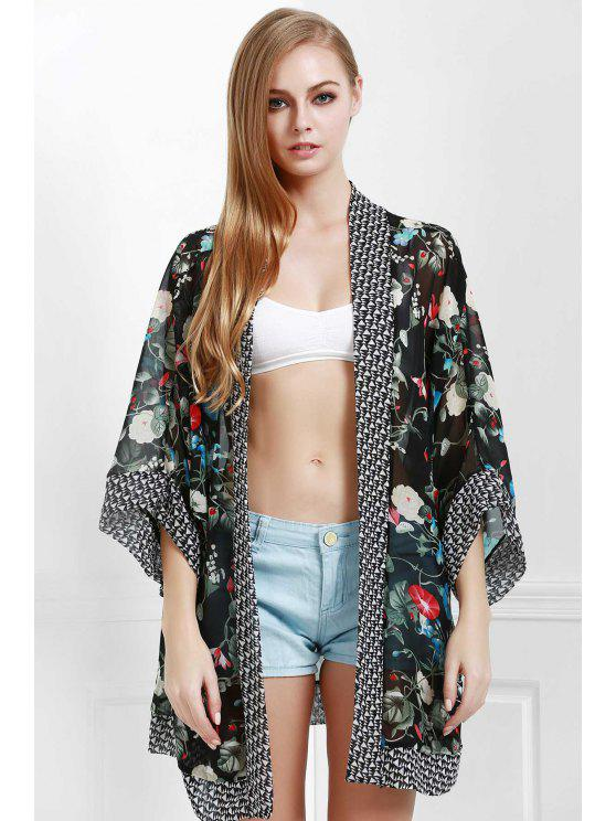women's Floral Print Kimono Beach Cover Up - BLACK ONE SIZE(FIT SIZE XS TO M)
