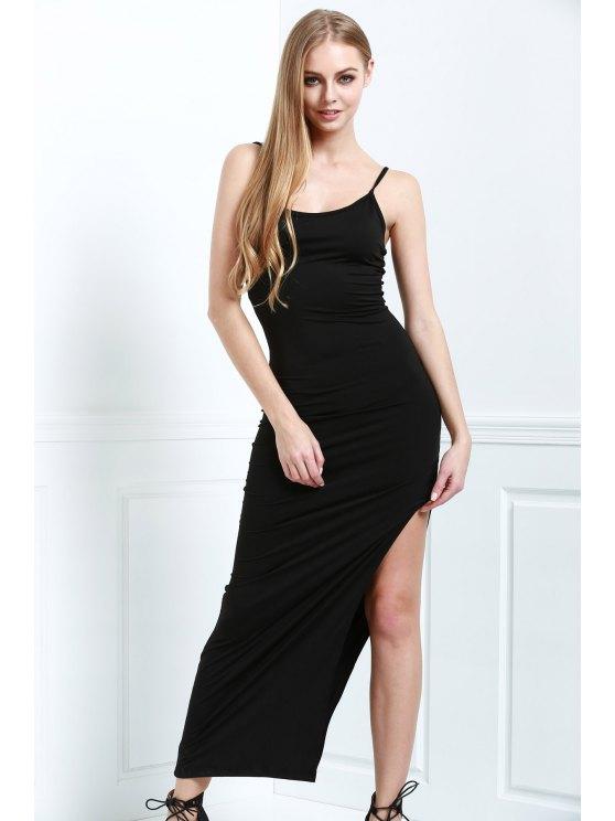 hot Black Cami Slimming Maxi Dress - BLACK S