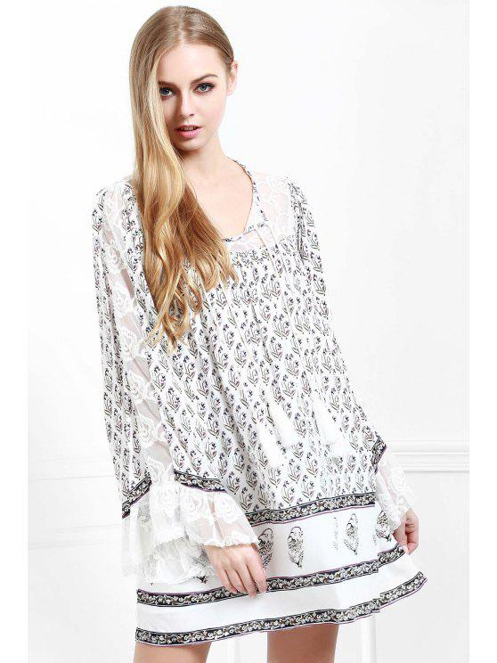 shop Tiny Floral Print Long Sleeves Dress - WHITE XS