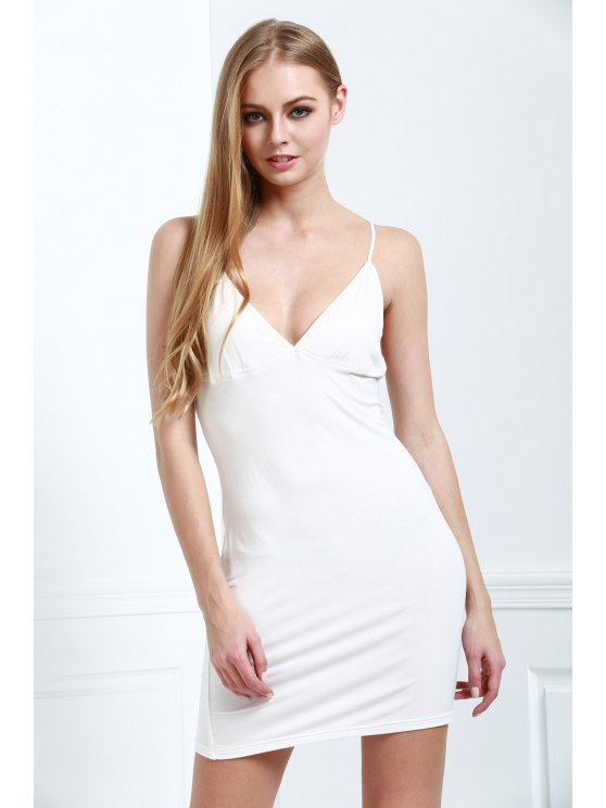 best Solid Color Bodycon Cami Dress - WHITE 2XL