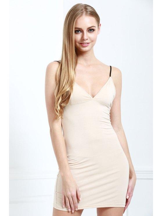 shops Solid Color Bodycon Cami Dress - NUDE XL
