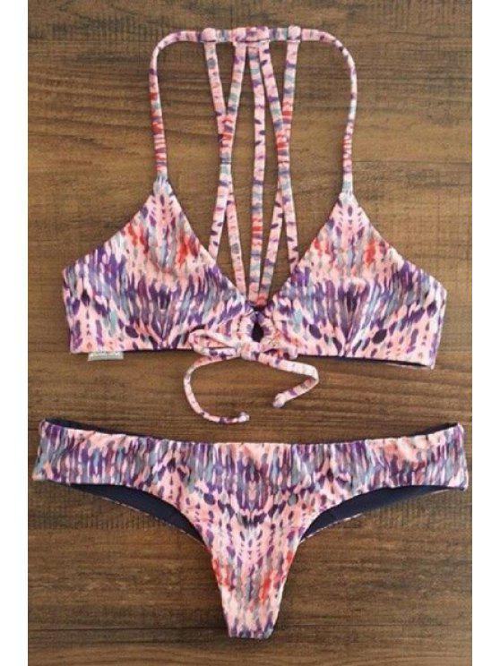 chic Spaghetti Strap Printed Lace-Up String Bikini Set - COLORMIX XL