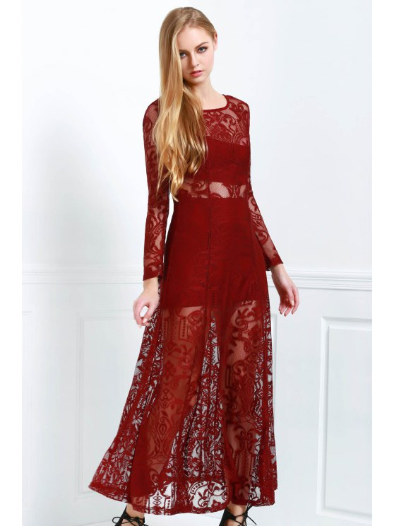 best Lace Scoop Neck Long Sleeve Maxi Dress - WINE RED S