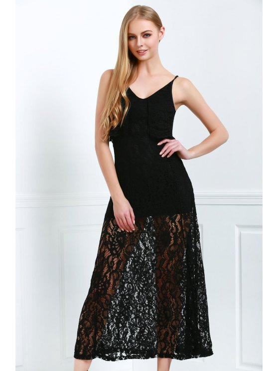 women Spaghetti Straps Sexy Fishtail Lace V-Neck Maxi Dress - BLACK 2XL