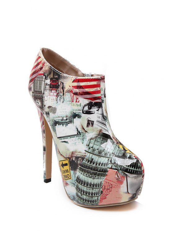 lady Color Matching Print Platform High Heel Boots - NUDE 37