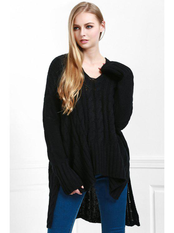 new V-Neck Cable Knit High Low Sweater - BLACK M
