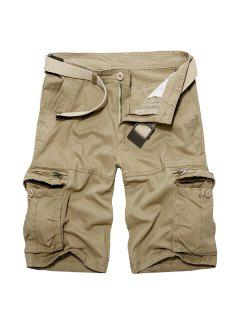 Casual Loose Fit Multi-Pockets Zip Fly Solid Color Cargo Shorts For Men - Khaki 29