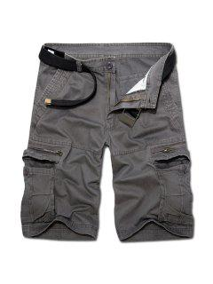 Casual Loose Fit Multi-Pockets Zip Fly Solid Color Cargo Shorts For Men - Deep Gray 34
