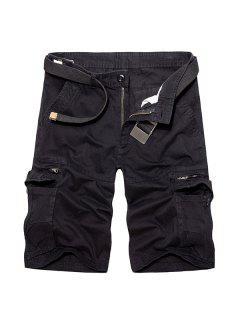 Casual Loose Fit Multi-Pockets Zip Fly Solid Color Cargo Shorts For Men - Black 32