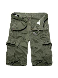 Casual Loose Fit Multi-Pockets Zip Fly Solid Color Cargo Shorts For Men - Army Green 30