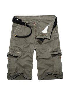 Casual Loose Fit Corto Multi-bolsillos Con Cremallera Sólidos Pantalones De Color De Carga Para Los Hombres - Verde 29