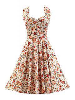 Smocked Rose Print Swing Dress - White L