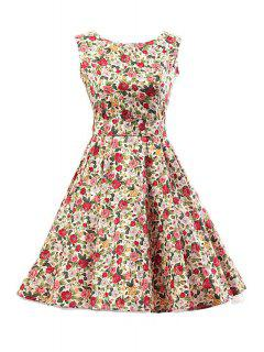Sleeveless Rose Print Ball Gown Dress - S