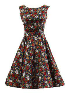 Sleeveless Full Floral Pin Up Dress - Blue Xl