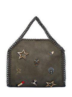 Chains Lipstick Star Tote Bag - Gray