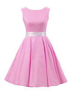 Sleeveless Polka Dot Pin Up Dress - Pink 2xl
