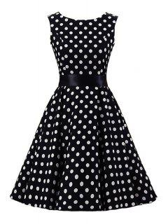 Sleeveless Polka Dot Ball Gown Dress - Black 2xl
