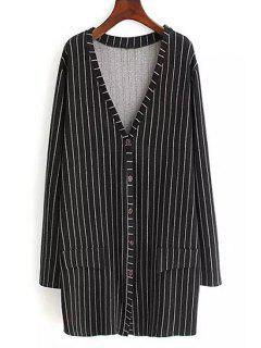 Striped Plunging Neck Long Sleeve Coat - Black 4xl