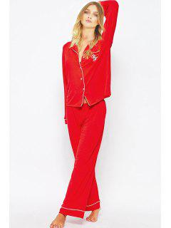 Letter Print T-Shirt And Pants Sleepwear Suit - Red 2xl