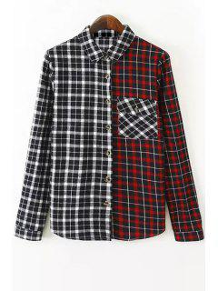 Plaid Color Block Turn Down Collar Long Sleeve Shirt - Red With Black M
