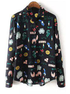 Cartoon Print Turn Down Collar Long Sleeve Shirt - Black S
