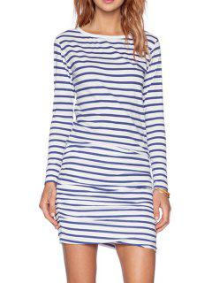 Long Sleeve Striped Ruched Dress - Blue And White Xl