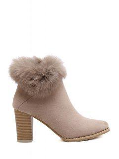 Faux Fur Suede Chunky Heel Short Boots - Khaki 39