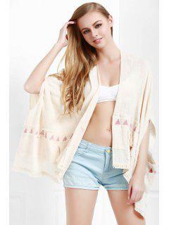 Batwing Sleeve Fringed Kimono - White M