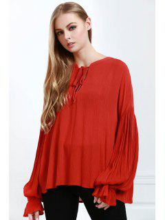 Lace-Up Solid Color Lantern Sleeves Blouse - Orange L