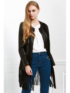 Long Fringe PU Leather Jacket - Black S
