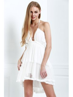 Halter Lace-Up Open Back High-Low Hem Splicing Dress - Off-white