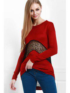 Openwork Lace Spliced Round Color Long Sleeves Sweater - Wine Red M