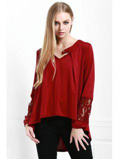 High Low V Neck Lace Panel Blouse - Wine Red S