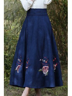 Floral Embroidery High Waist A Line Skirt - Purplish Blue S