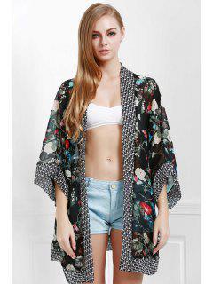 Floral Print Kimono Beach Cover Up - Black