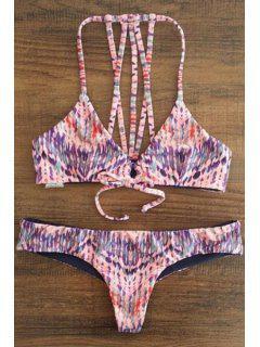 Spaghetti Strap Printed Lace-Up String Bikini Set - L