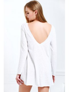 Scoop Neck White Backless Long Sleeve Dress - White Xl