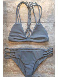 Gray Cutout   String Bikini Set - Gray M