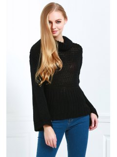 Pure Color Turtle Neck Long Sleeve Jumper - Black