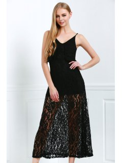 Spaghetti Straps Sexy Fishtail Lace V-Neck Maxi Dress - Black 2xl