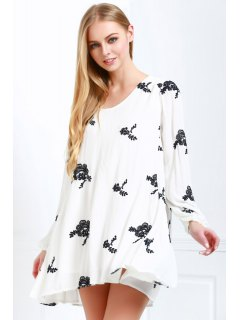 V Neck Floral Embroidery Long Sleeve Dress - Off-white L