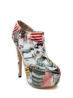 Color Matching Print Platform High Heel Boots - Nude 37