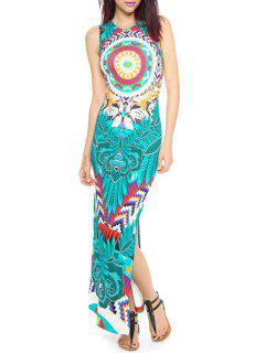 Printed Side Slit Round Collar Sleeveless Maxi Dress - Azure S