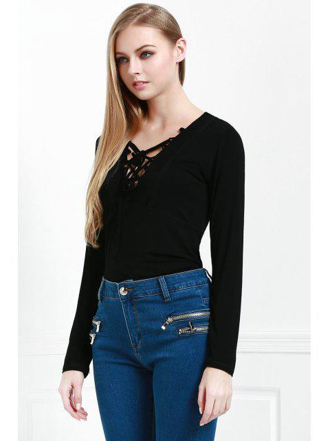 womens Lucky Lace Up Top - BLACK S Mobile